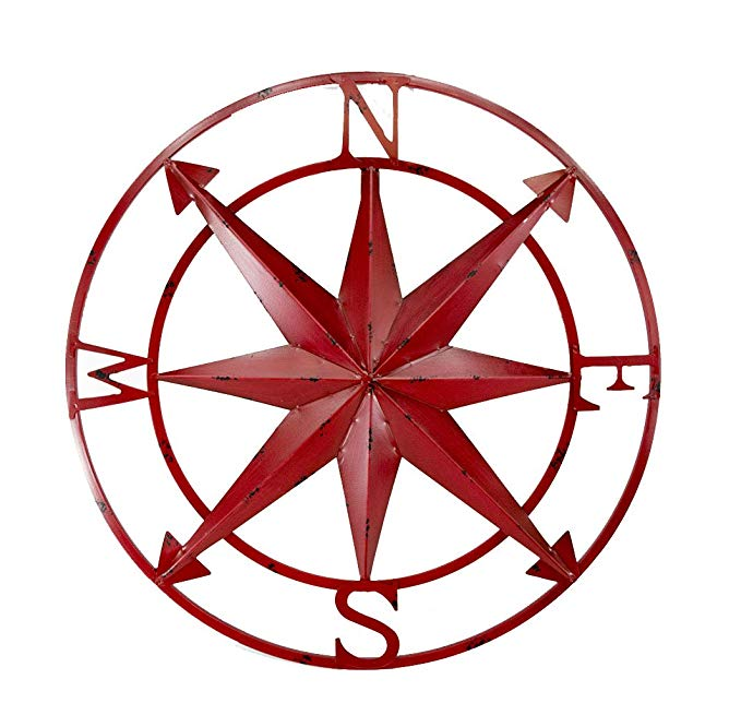 Zeckos Metal Wall Sculptures 20 Inch Diameter Distressed Red Finish Metal Compass Rose Wall Hanging 20 X 20 X 1 Inches Red
