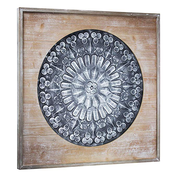 Crystal Art Framed Metal Medallion on Wood, Farmhouse Wall Décor, Black and Silver