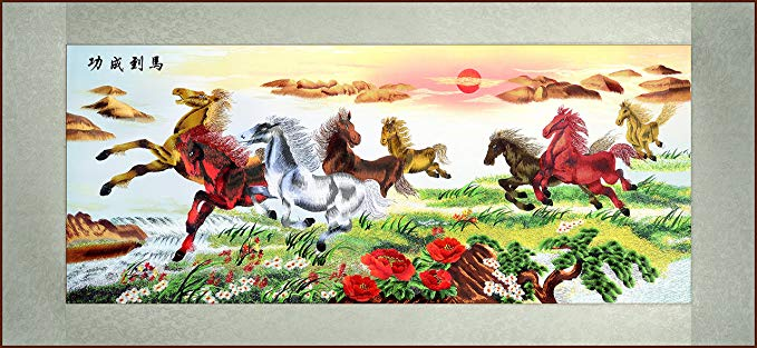 Grace Art, Extra Large, Oblong Asian Silk Embroidery Art Wall Hanging, Wide Format, Horses