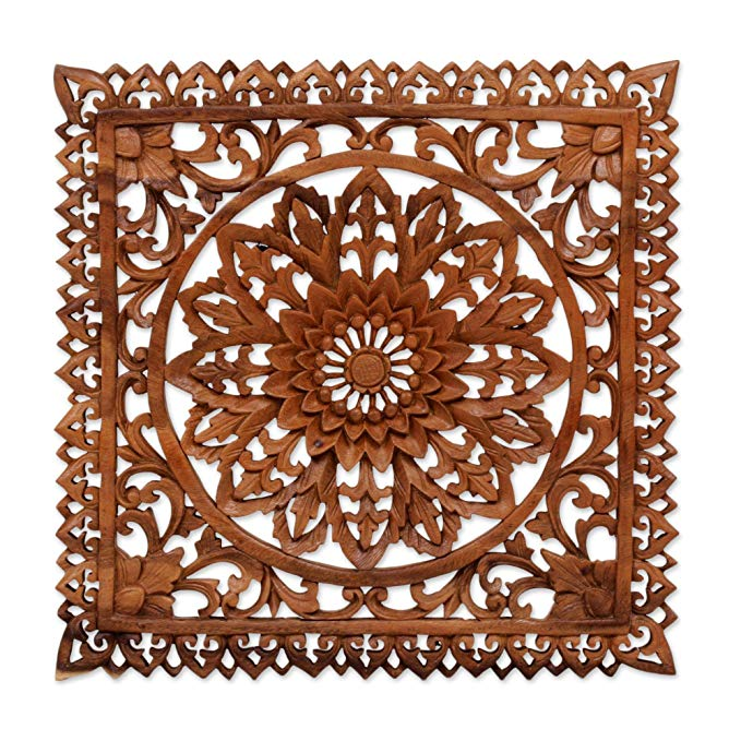 NOVICA Floral Large Wood Wall Sculpture, Brown, Floral Shrine'