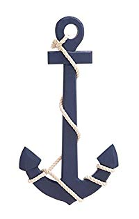 Deco 79 78762 Wood Rope Wall Anchor Home Décor Product, 15