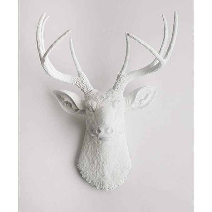 White Faux Taxidermy The Templeton White Faux Deer Wall Sculpture