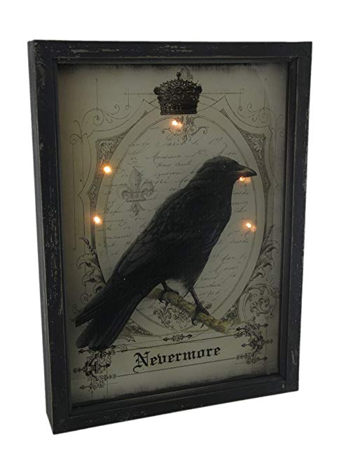 Zeckos Wood & Glass Decorative Wall Plaques Nevermore Raven Gothic 3D Look Led Light Up Wall Hanging 13 X 18 X 2.25 Inches Black