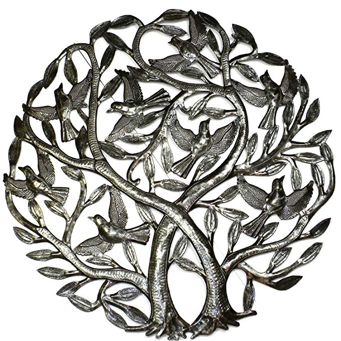 Global Crafts Double Tree of Life 24 inch Metal Wall Art - indoor or Outdoor Decor