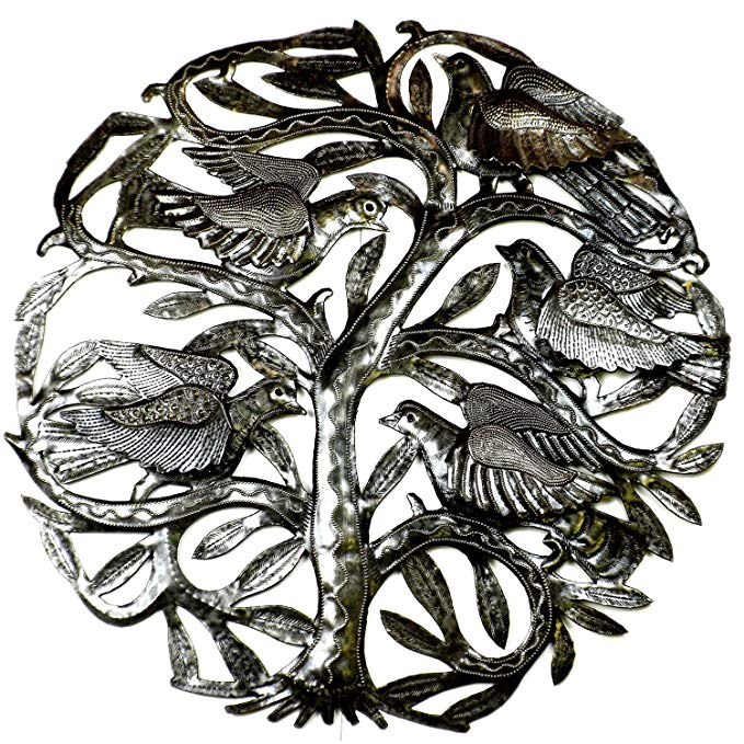 24-inch Tree of Life with 3-D Birds Metal Art